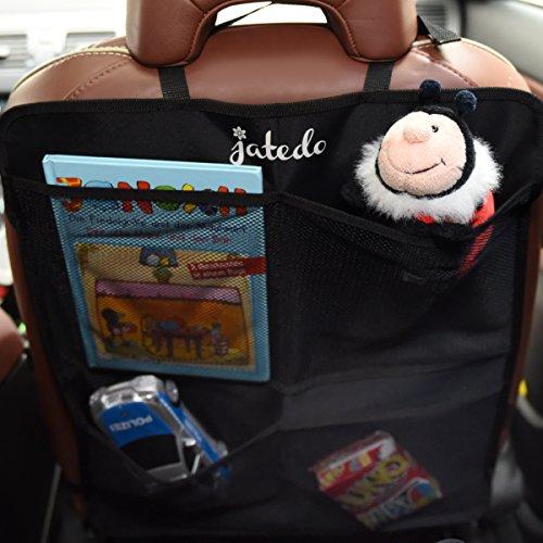Auto-Rückenlehnenschutz für Kinder mit 4 Rücksitz-Taschen (extra groß und leicht zugänglich) von jatedo (2 Stück, schwarz)