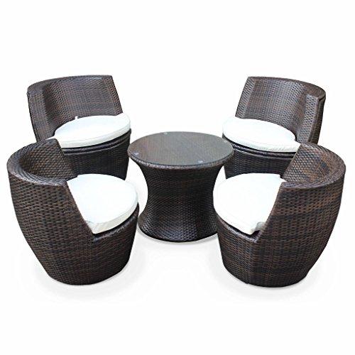 Alice's Garden Salon de jardin encastrable et empilable en résine tressée - Bologna - Chocolat, Coussin écru - 4 places - une petite table ronde et 4 fauteuils
