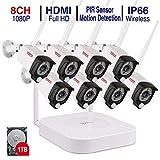 【Audioüberwachung + PIR Sensor】 Tonton Audio 1080P NVR Videoüberwachungsset mit 8 * 2.0MP 1080P Überwachungskameras mit Audioüberwachung für Innen und Außen Bereich PIR Sensor (1TB Festplatte)