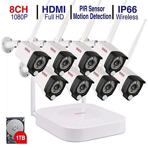 【Audioüberwachung + PIR Sensor】 Tonton Audio 1080P NVR Videoüberwachungsset mit 8 * 2.0MP 1080P Überwachungskameras mit Audioüberwachung für Innen und Außen Bereich PIR Sensor (1TB Festplatte) Wireless Dvr Security System