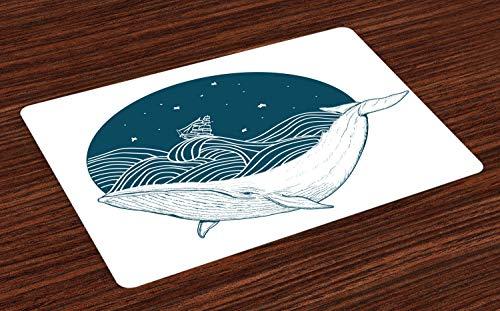 ABAKUHAUS Wal Platzmatten, Großer Wal, der in Einem gewellten Ozean mit Sternen und altem antikem Schiffs-Grafik-Druck schwimmt, Untersetzer aus Waschbaren Stoff Tischdekoration mit Druck, Weiß Teal - Grafik Alter Druck