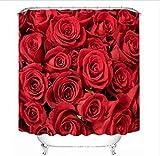 GFYWZ Duschvorhänge Polyester 3D Rote Rose Dreidimensionale Sicht Raum Druck Bad Dekoration Verschluss Privatsphäre Wasserdichter Mehltau Resistent Vorhang , 180*200cm