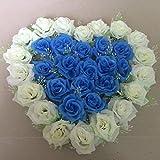 Hctina künstliche Fake Blume Pflanze koreanischen Stil Heart-Shaped Rosen Kranz Blumenmuster in Blau und Weiß