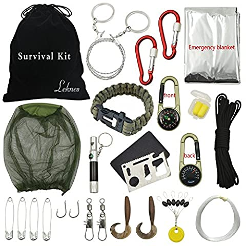 [Qudi]Outdoor Survival Kits Emergency Kits with 18 Different Accessories For Disaster Preparedness (4 Lb Bucket)