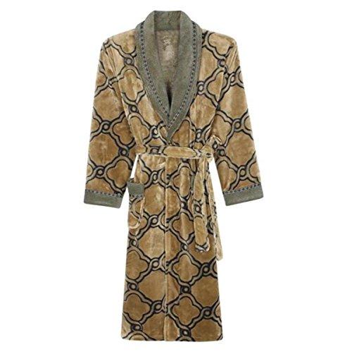 Camicia da notte da uomo a manica lunga un pezzo di risvolto pigiama invernale in flanella pesante servizio di accappatoi per la casa,brown-2xl