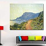 haoxinbaihuo Monet Malerei Berühmte Abstrakte Seerosen Wandmalerei Grüne Und Blaue Wandkunstausgangsdekor Druckte Malerei 50 * 65 cm