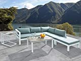 Beliani Conjunto de jardín en Aluminio - Sofá seccional - Mesa - Taburete - Messina