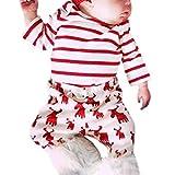 Hffan Neugeborenes Baby Mädchen Jungen Lange Ärmel Rundhals Weihnachten Hirsche drucken Streifen Tops + Hosen 2 Stück Set Outfits Weihnachten Outfits Kleidung (3 Monate)
