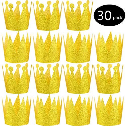 30 Stücke Papier Gold Krone mit Elastischen Krawatten Papier Hut Papier Mini Crown Hut für Party Favors Geburtstag Baby Dusche Hochzeit Graduierung