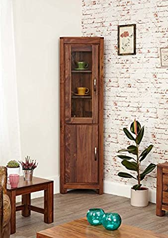 Mayan Walnut Glass Corner Display Cabinet with Satin Walnut Finish | 2 Door Cupboard with Shelving | Solid Wood 5 Tier Unit Storage Unit