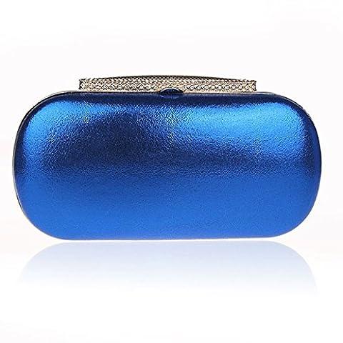 Le nouveau sac robe solide sac de soirée sac de banquet de sac à main de mode diamant de couleur de sac à main de sac à main de mariée annuelle sacs à main de réunion ( Color : Navy Blue )