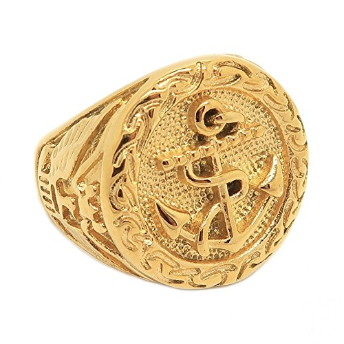 BOBIJOO Jewelry - Imposante Ring Siegelring Runde Mann Edelstahl 316 Gold Mit Goldenem Anker-Marine-Adler - 23,9 (15 US), Vergoldet - Edelstahl 316