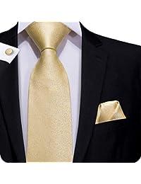 ee4bb0b0a1de9 Hi-Tie Men Classic Multi-Color Solid Tie Necktie with Cufflinks and Pocket  Square