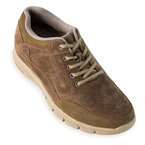 Scarpe con rialzo da uomo che aumentano l'altezza fino a 7 cm. fabbricate in pelle. modello berna marrone 42