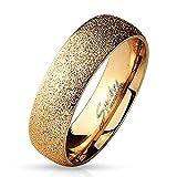Paula & Fritz Sand Glitzer 6mm breit Damen-ring Verlobungs-ring Freundschaftsring Herrenring Partnerring Edelstahl Chirurgenstahl 316L roségold 50 (16)