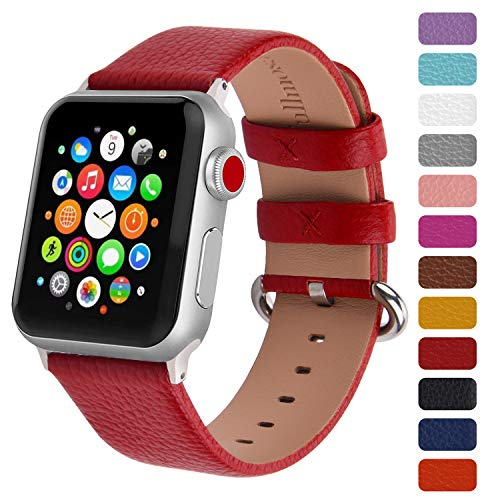 Fullmosa Klassische Litichi Leder Watch Armband Kompatibel für Apple Watch Series 5/4/3/2/1, 12 Farben iWatch Armband geeignet für Männer und Frauen mit Edelstahlschliesse 42mm, Rot