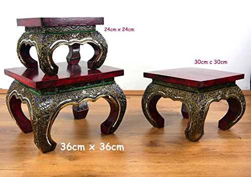 Asian Opium Table, Red, Glass Mosaic Style, Handmade Thai Furniture, Different Sizes (Medium)