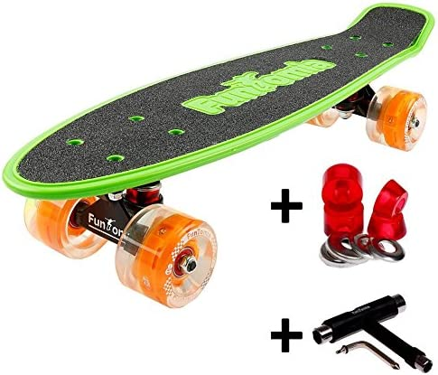 FunTomia® Skateboard 57cm - Big Wheel Ruote Ruote Ruote 70x42mm - Retro Mini Cruiser (verde Arancione - con LED  T-Tool) B076H9RB7C Parent | Commercio All'ingrosso