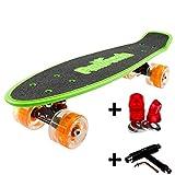 FunTomia Mini-Board Cruiser Skateboard mit 70/65mm Big Wheel Rollen inkl. MACH1® ABEC-11 Kugellager (auch mit LED Rollen) (Grün2 LED + T-Tool + Lenkgummis)
