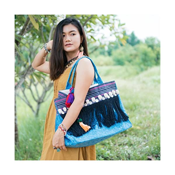 Changnoi Fringe Tote Bag for Women in Blue, Handcrafted Ethnic Beach Boho Bag, One of a Kind Shoulder Bag with Black Tassels - handmade-bags