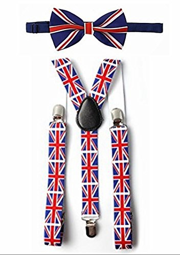 Royal Wedding World Cup Union Jack Flag Braces & Bow Tie Set