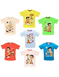 Luke and Lilly Chhota Bheem Printed Round Neck Cotton T-Shirt for Baby Boys Pack of 7