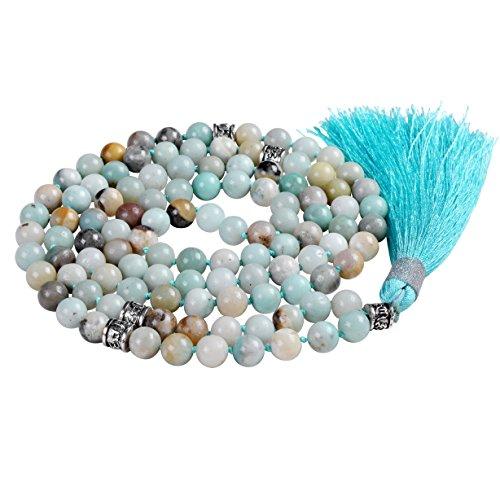 Collana di perline mala, perline mala braccialetto, rosario buddista collana, tassel collana (amazzonite) …