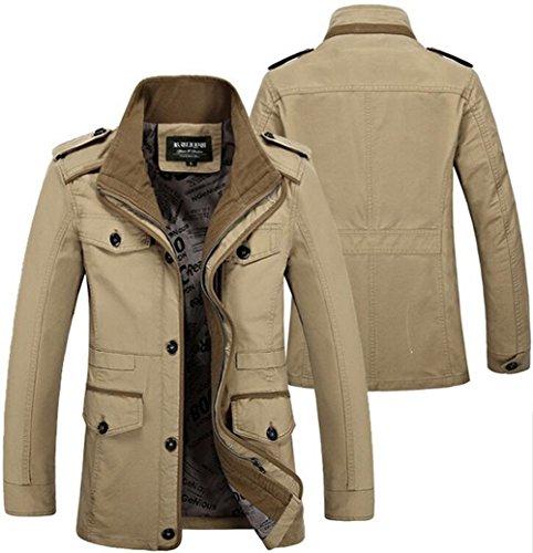 Herren Army Militär Jacke Baumwolle Parka Übergangs Herbst Classic Multi-Pocket Cargo Style Jacke Mäntel Khaki 06