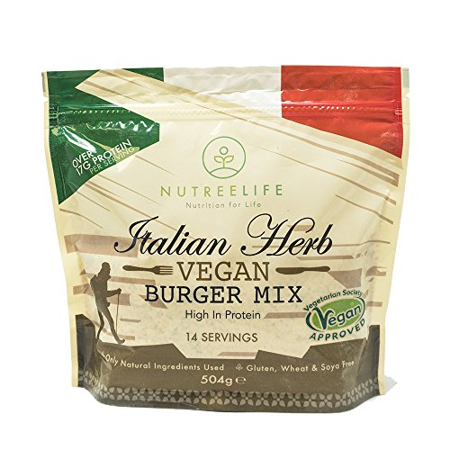 Vegan Burger Mix by NutreeLife. High Protein and All-Natural Ingredients. Gluten, Wheat, SOYA, Dairy Free - 504g (Italian Herb)
