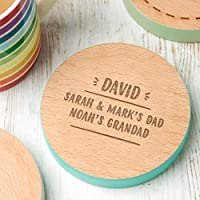 Personalised Grandad Coaster - New Grandad Gifts - Unique Fathers Day/Birthday Gift - Wooden Engraved Beech (8 Colours to Choose from)