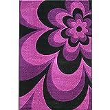 Teppich Encryption Thick Black Purple Blumen Schlafzimmer Wohnzimmer Teppich (größe : 80 * 150cm)