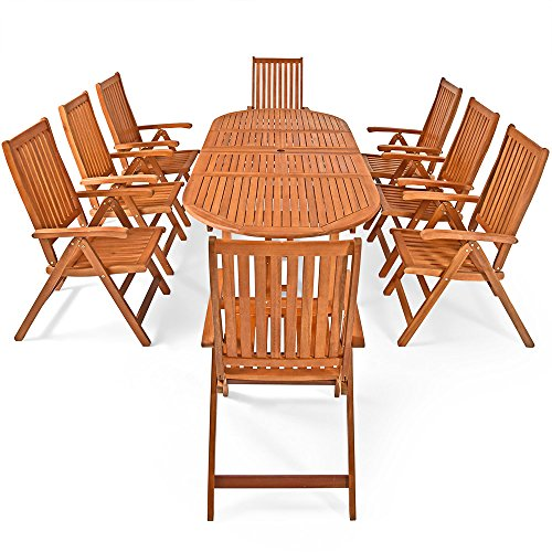 Deuba Wooden Garden Furniture Set FSC�-Certified Eucalyptus Wood 8 Seater Dining Table and Chairs Set Moreno