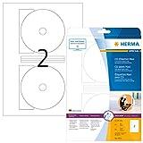 Herma 4914 CD DVD Etiketten Foto-Qualität (Ø 116 mm, Innenloch klein) weiß, 50 Stück, 25 Blatt A4 Laser-Glossy-Papier, Zentrierhilfe, bedruckbar