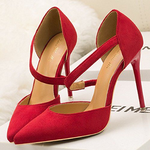 Oasap Women's Solid Pointed Toe High Heels Slip-on Pumps Red