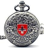 Infinite U Suisse Croix Fleur Chiffres Romains Acier Montre de Poche Mécanique Gris
