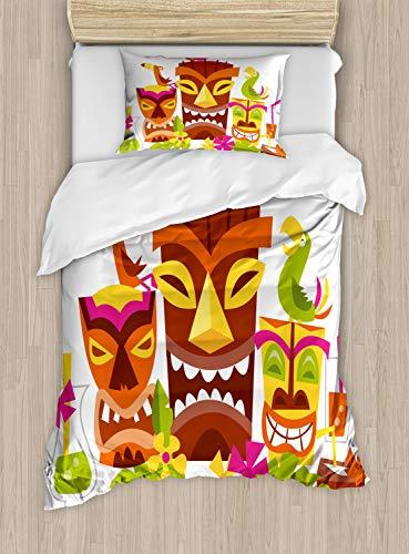 ezug Set Einzelbett, Tiki Masken Getränke Vögel, Kuscheligform Top Qualität 2 Teiligen Bettbezug mit 1 Kissenbezüge, Mehrfarbig ()