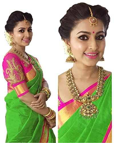 Purvi Fashion Women's Cotton Silk Saree With Blouse Piece (Kalamkari black 2)