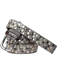 CASPAR Damen Vintage Gürtel schmal mit Nieten Teil Leder - viele Farben - GU224