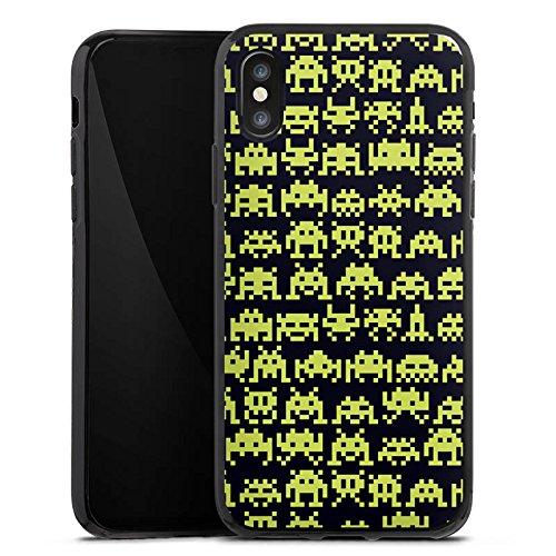 Apple iPhone X Silikon Hülle Case Schutzhülle Spaceinvaders Alien Motiv Silikon Case schwarz