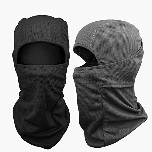Tobbiheim Sturmhaube Motorrad, Skimaske Atmungsaktiv Winddicht Gesichtsmaske Multi-Funktion für Damen, Herren und Kinder – 2 Stück (Schwarz + Grau) |
