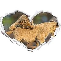 Cucciolo giocando a forma di cuore in formato sguardo, parete o adesivo porta 3D: 92x64.5cm, autoadesivi della parete, decalcomanie della parete, Wanddekoratio