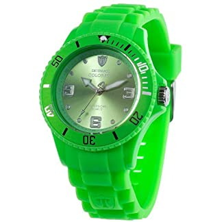 Detomaso DT3007-K – Reloj analógico de Cuarzo para Mujer con Correa de Silicona, Color Verde