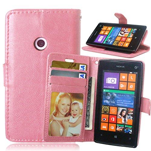 Telefon Kasten für Nokia Microsoft Lumia 520 ,Bookstyle 3 Card Slot PU Leder Case Interner Schutz Schutzhülle Handy Taschen-Rose (520 Telefon-kasten Lumia Nokia)