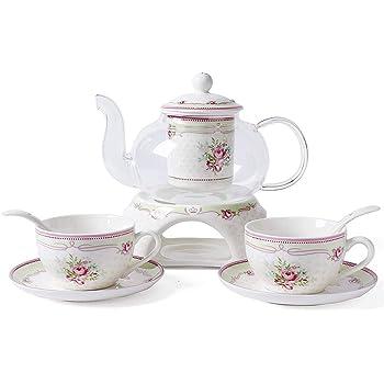 ufengke® Européen Pastoral Fleur Rose PorcelaineD'os Céramique Service À Thé 6 Pièces