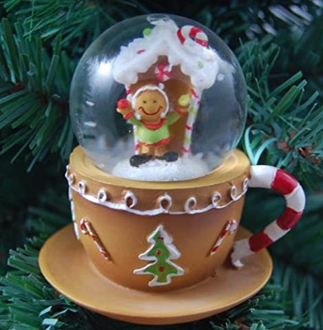 Gisela Graham Christmas Decoration GingerBread Tea Cup Snowglobe