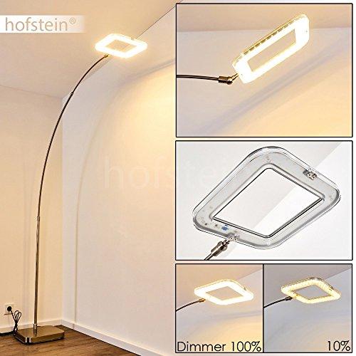 LED Stehleuchte aus Metall Nickel matt - Stehlampe für Wohnzimmer - Schlafzimmer - Büro - Bogenlampe mit Dimmschalter - Bogenleuchte ist in der Höhe und Ausladung verstellbar - dimmbar