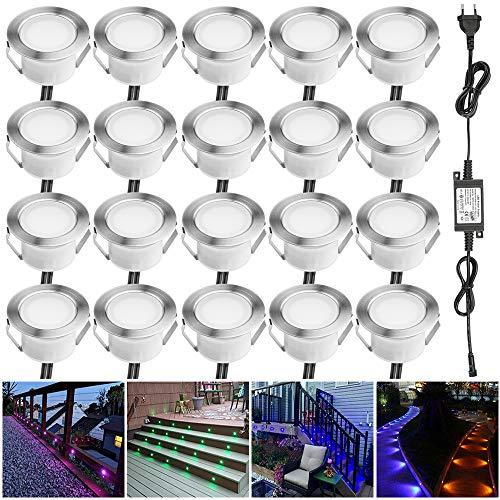 Lampe au Sol Spot Encastrable-Lumière réglable(RGB) étanche IP67 Ø45mm-éclairage pour terrasse, patio, chemin, mur, jardin, décoration, intérieur et extérieur(Lot de 20)