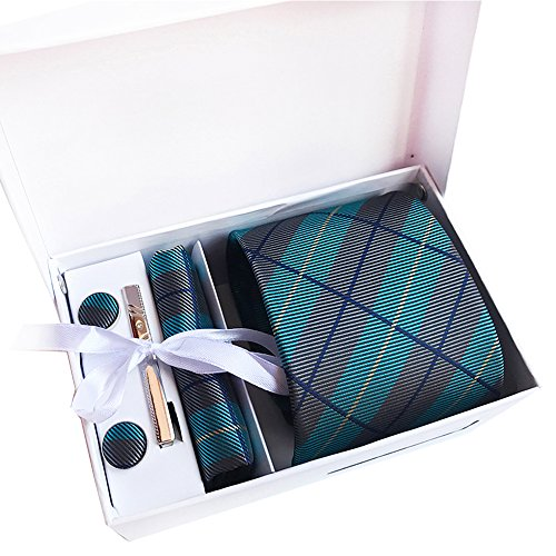 Amhillras Krawatte Set 8 cm in verschiedene Farben inklusive Einstecktuch Manschettenknöpfe und Krawattenklammer mit Box und Packtasche