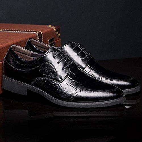 GRRONG Herren-Leder-Schuhe Klassisches Geschäft-formales Kleid Schwarz Braun Black