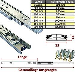 15 PAAR Vollausz/üge 450 mm 45 Kg Tragkraft mit Soft Close Schubladenschienen von JUNKER 1 VE